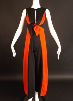 1970s Black & Red Poly Knit Jumpsuit, Bust-34