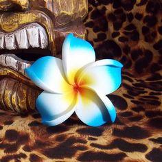 Blue Tiki Plumeria Flower Hair Clip