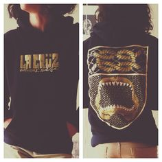 Tiburón Hoody for Ladies and Gents by LA CRÜZ.( Black color and Gold print)