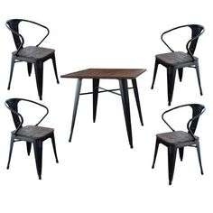 5-Piece Industrial Dining Table Chairs Set Wooden Metal Kitchen Retro Furniture: $572.14End Date: Dec-22 04:17Buy It Now for… #eBay #Amazon