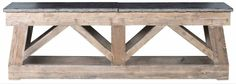 Long Reclaimed Pine and Bluestone Console Thick Pine Base Planks in Hand Finished Distressed Finish Bluestone is Natural Product, Each Piece Varies Slightly No Custom Sizes Available  Also Available in 72
