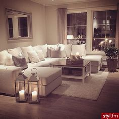 My perfect cosy living room! Someone please buy me a sofa just like this :-)…. My perfect cosy living room! Someone please buy me a sofa just like this :-)…. but maybe in a more grey shade- I cannot be trusted with this much white Romantic Living Room, Cozy Living Rooms, New Living Room, Living Room Sofa, My New Room, Apartment Living, Home And Living, Small Living, Cozy Apartment