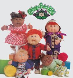 """Cabbage Patch Kids Doll Sewing Pattern Butterick 5264 Pajamas Dress Top Pants Hat Pattern Size 11"""" and 14"""" dolls by sandritocat on Etsy"""