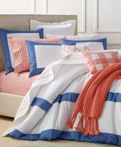 Charter Club Damask Designs Colorblock Denim Bedding Collection, Only at Macy's - Bedding Collections - Bed & Bath - Macy's