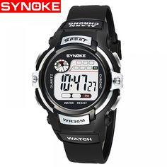 SYNOKE 99569 Luminous Waterproof Children Electronic Watch - Silver - Kid's Watches, Kids' Digital Watches # # Color: Silver SKU: Gift-wrap: Available Sport Watches, Cool Watches, Watches For Men, Unusual Watches, Clock For Kids, Walpaper Black, High End Watches, Popular Watches, Swiss Army Watches