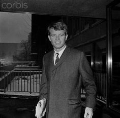Senator Robert F. Kennedy leaves Roosevelt Hospital after visiting his wife Ethel and his ninth child, Matthew Maxwell Taylor Kennedy....