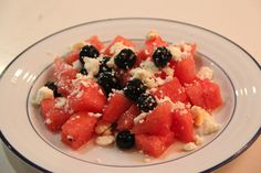 Savory Watermelon & Blueberry Salad - The Manly Housekeeper