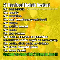 Try our 21 Day Food Rehab Restart! Avoid junk food and processed foods for 21 days and see results.