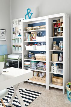 Craft Room Tour - There's something about tall bookshelves that automatically make any home office feel stately—p - Sewing Room Organization, Craft Room Storage, Craft Rooms, Storage Ideas, Organizing, Shelving Ideas, Organization Ideas, Rangement Art, Craft Room Design