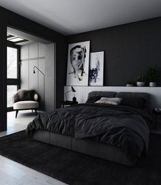 Best Modern And Minimalist Bedroom Design Ideas Black Bedroom Decor, Black Bedroom Design, Black Interior Design, Room Ideas Bedroom, Home Room Design, Home Decor Bedroom, Men's Bedroom Design, Black Bed Room Ideas, Black Curtains Bedroom