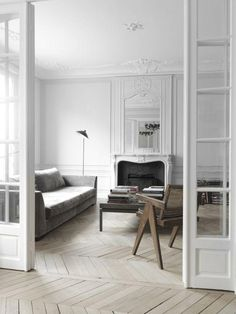 fireplace beautiful and ornate plaster, white Loft & Appartement haussmannien : le travail de Nicolas Schuybroek - Frenchy Fancy Apartment Interior, Living Room Interior, Home Interior, Home Living Room, Interior Architecture, Interior And Exterior, Living Spaces, French Apartment, White Apartment