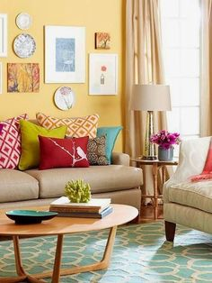 Living room color scheme (pillows: red, lime, orange , teal)