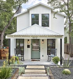This two-story Modern Farmhouse in Austin started out as a small, nondescript cottage. (Remodel by Ave B Development.)