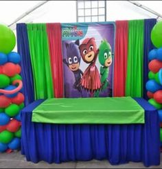 PJ Masks Main Table Decor 1. Birthday Party Centerpieces, Birthday Party Tables, 6th Birthday Parties, Pj Mask Party Decorations, Pjmask Party, Godzilla Birthday Party, Festa Pj Masks, Party Themes For Boys, Birthdays