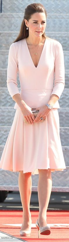Kate in Pink McQueen for Adelaide Visit, LK Bennett Sledge pumps, Natalie clutch, Annoushka pearl drop earrings, Cartier watch, Asprey's Woodland Collection necklace