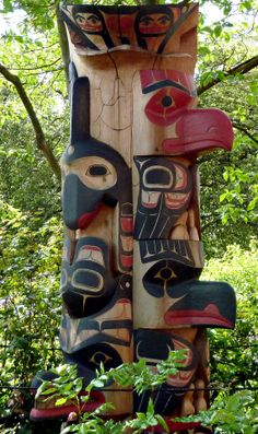 This pole was carved by Wayne F. Hewson, Tsimshian, and painted by David R. Boxley, Tsimshian, 2002, and given to the Burke Museum in 2004. Wayne is a resident of Metlakatla, Alaska.