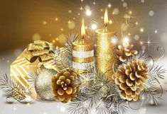 Christmas candles wallpaper by - 32 - Free on ZEDGE™ Christmas Candles, Gold Christmas, Beautiful Christmas, Christmas Holidays, Christmas Decorations, Christmas Ornaments, Happy Holidays, Christmas Gifts, Christmas Cover