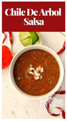 How to make Chile de Arbol Salsa │This Chile de Arbol Salsa is very spicy, as the arbol chile pepper brings This Chile de Arbol salsa is very spicy is made with tomatoes and tomatillos, plus the addition of cilantro. A fresh mix of heat! Authentic Mexican Recipes, Mexican Salsa Recipes, Mexican Dishes, Hot Sauce Recipes, Mexican Cooking, Quirky Cooking, Fresh Salsa, Comida Latina, Homemade Salsa