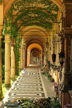 Ivy covered arcades at Mirogoj  Zagreb, Croatia - Beautiful long outdoor corridor !