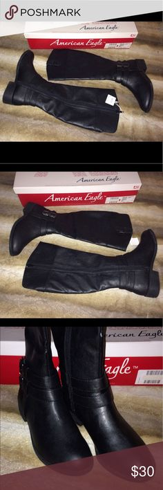 "American Eagle Boots NWB knee high boots. Man made materials. Heel - 1 1/2"". Height - 16"". Calf - 15"". American Eagle By Payless Shoes Winter & Rain Boots"