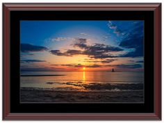 """11"""" x 14"""" Traditional Photography Prints / Wall Décor Landscape Photograph: Sunset at Lighthouse in the Bay. View all of the stunning Landscape Photos by Nature and Landscape Photographer Melissa Fague at:  https://www.etsy.com/shop/PIPAFineart Limited Edition Fine Art landscape photography prints and canvas wraps are also available in a variety of sizes."""