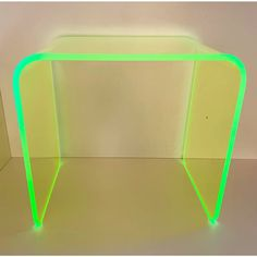 This gorgeous specimen is one of the first in our new line of Neon acrylic tables. Done in the iconic waterfall shape first used with lucite during. Acrylic Furniture, Neon Furniture, Furniture Design, Automotive Furniture, Automotive Decor, Recycled Furniture, Handmade Furniture, Cute Room Decor, Indie Room Decor