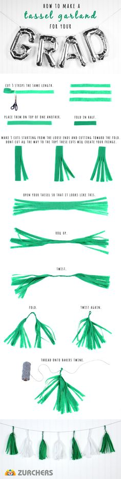 How to make a tassel garland out of crêpe paper streamers. #graduation #graduationparty #graduationpartyideas #tasselgarlanddiy #tasselgarlandhowto #diy #howto