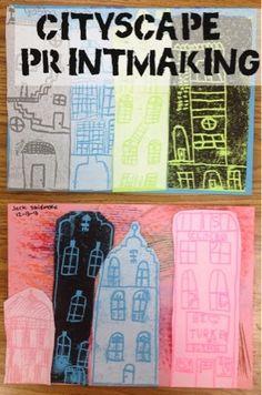 Mrs. Knight's Smartest Artists: Cityscape printmaking, 4th grade - continuation of cityscape collage lesson