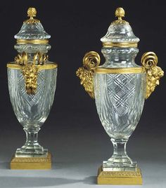 A pair of French gilt bronze mounted cut glass vases and covers CIRCA 1900, PROBABLY BY BACCARAT