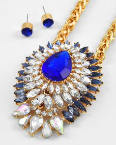 Gold Tone / Royal Blue & Clear Acrylic / Lead Compliant / Pendant / Necklace & Post Earring Set