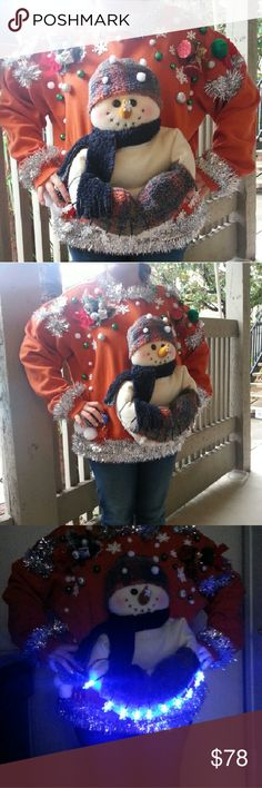 FINAL SALE 🎁Ugly Christmas Sweater with Lights Size Man Large  Medium large XL can wear PRICE IS FIRM Sweaters