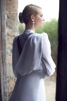 I would do this hairstyle and I like the pearl earrings. Riki Dalal Bridal Collection 2013   My Dress of the Week | bellethemagazine.com