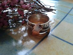 Sterling silver ring with outer ring, copper map of Scotland and Gaelic wording