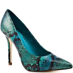 Protest - Blue Multi  Stand up for what you believe in when striding in this Fergie pump. Protest is made up of a bright blue snake printed upper and 4 inch heel. This pointed toe style is back and has received an extreme makeover!  $69.99