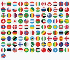 Country Flag flat Icons Set