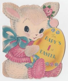 ab62a3d1dc Vintage Greeting Card Die-Cut Baby's First Easter Flocked Lamb Norcross