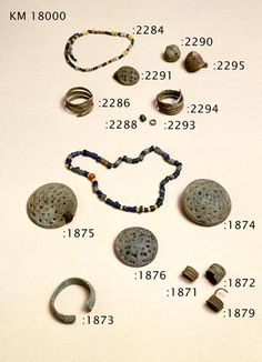 Jewelry from grave 118 in Eura, SW Finland. Glass beads and bronze jewelry. From 800-1050.