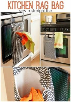 """Lined hanging """"hamper"""" for dirty kitchen rags, bibs, dish clothes, and cloth napkins. Full tutorial with lots of pictures. Also, link to rolled kitchen towel tutorial. Easy Sewing Projects, Sewing Projects For Beginners, Sewing Hacks, Sewing Tutorials, Sewing Crafts, Sewing Tips, Basic Sewing, Weaving Projects, Sewing Ideas"""