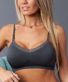 Charcoal Lace Seamless Wireless Bra - Plus