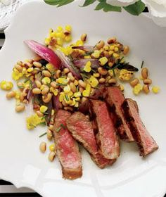 African American Wedding Food: Steak With Corn and Black-Eyed Pea Salad Easy Dinner Party Recipes, Dinner Parties, Dinner Menu, Beef Recipes, Cooking Recipes, Water Recipes, Grilling Recipes, Black Eyed Pea Salad, Wedding Reception Food