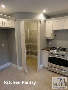 New kitchen corner pantry layout double ovens ideas Corner Pantry Cabinet, Corner Kitchen Pantry, Kitchen Pantry Design, Kitchen Pantry Cabinets, Corner Stove, Kitchen Storage, Wall Storage, Corner Cabinets, Pantry Storage