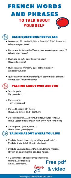 Talking About Yourself In French: French Words and Expressions You Need - AllWorldLanguages French Verbs, French Grammar, French Phrases, French Sayings, French Language Lessons, French Language Learning, Learning Spanish, Spanish Lessons, Spanish Activities