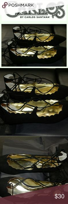 Carlos by Carlos Santana Pointed Flats Lace up Flats  Brand new. Never worn.  Does not come with box. Carlos Santana Shoes
