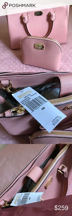 "NWT MK TOTE PALE PINK //CINDY TRAVEL POUCH NWT MICHAEL KORS SAFFIANO LEATHER SUTTON MEDIUM TOTE/CROSSBODY HANDBAG IN PALE PINK //CINDY TRAVEL POUCH  RETAIL $328.00 RETAIL $68.00 Color: Pale Pink STYLE: 35S6GSOT2L Saffiano leatherMagnetic snap closure. Double handles w/ 4"" drop Gold tone hardware, Michael Kors logo stamped on front Zippered pocket compartment on front & full slit pocket compartment w/ snap closure at the back Interior: 1 zippered pocket & 4 multifunctional sleeve pockets…"