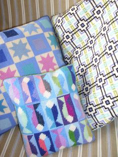 Some mainly blue & white cushions