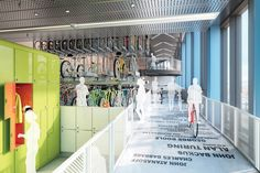 Googlers can cycle right into the building to the 20,000-sq-ft bike shed. (Future Google office in London 2016)