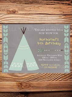 TEEPEE Birthday Invitation TEEPEE pow wow by StellarDesignsPro, $21.00