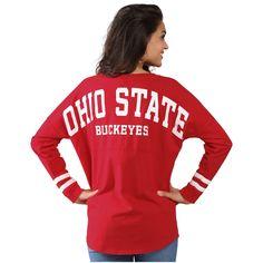 Women's Scarlet Ohio State Buckeyes Ohio State Cheer Long Sleeve Jersey T-Shirt Ohio State Wreath, Ohio State Baby, Ohio State Shirts, Buckeyes Football, Ohio State Football, Ohio State Buckeyes, Football Outfits, Clothes For Women, Scarlet