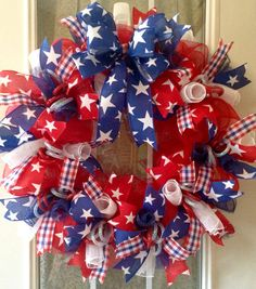 Patriotic wreath, Fourth of July wreath, 4th of July wreath, Memorial Day wreath, summer wreath, deco mesh wreath, front door wreath,