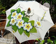 Beautiful handmade and hand painted parasol with wooden and bamboo frame.